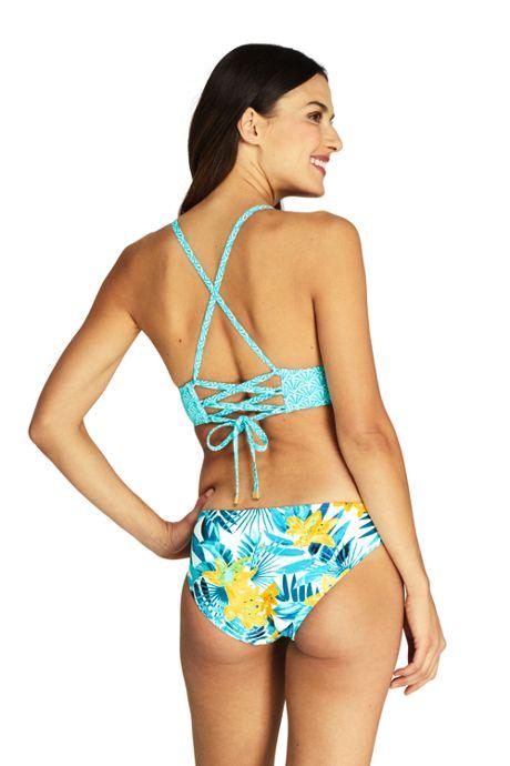 Women's Lace-up V-neck Bikini Top Swimsuit Print