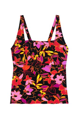 Women's Plus Size DD-Cup Square Neck Underwire Tankini Top Swimsuit Adjustable Straps Print
