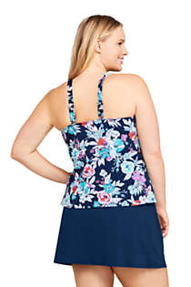 Women's Plus Size DD-Cup Square Neck Underwire Tankini Top Swimsuit Adjustable Straps Print, Back