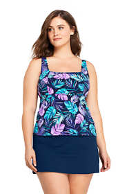Women's Plus Size G-Cup Square Neck Underwire Tankini Top Swimsuit Print