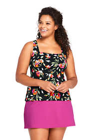 Women's Plus Size DDD-Cup Square Neck Underwire Tankini Top Swimsuit Print