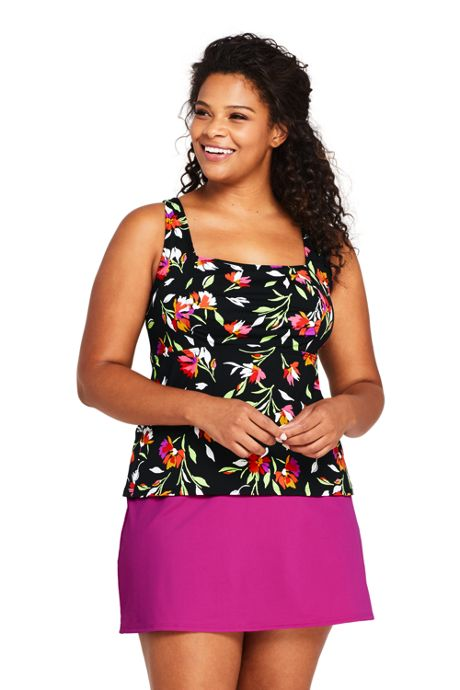 Women's Plus Size Tummy Control Square Neck Underwire Tankini Top Swimsuit Print