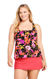 Women's Plus Size DDD-Cup Square Neck Underwire Tankini Top Swimsuit Adjustable Straps Print