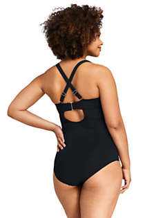 Women's Plus Size V-neck One Piece Swimsuit, Back