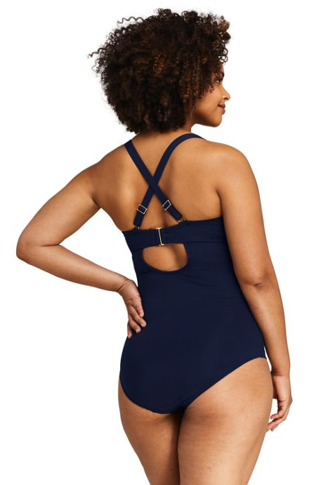 Women's Plus Size V-neck One Piece Swimsuit
