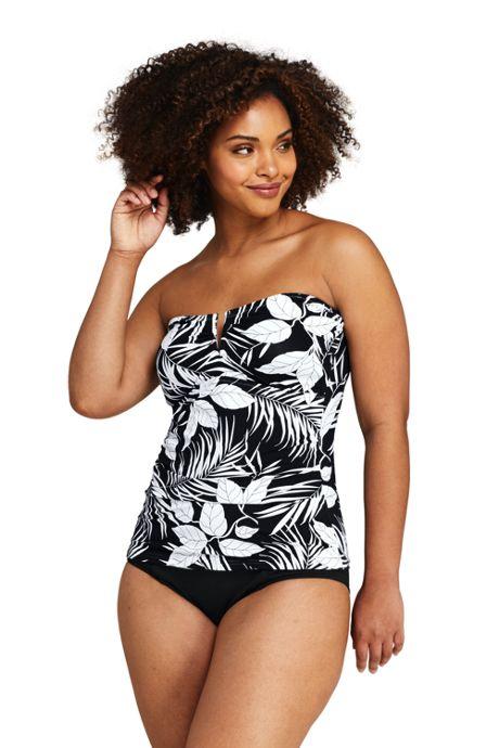 Women's Plus Size Bandeau Tankini Top Swimsuit Print