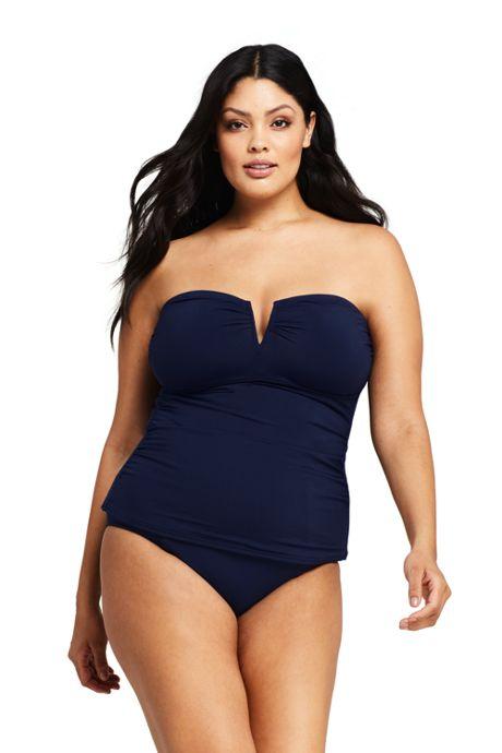 Women's Plus Size Bandeau Tankini Top Swimsuit