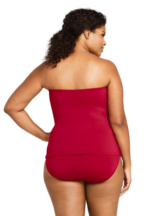 Women's Plus Size Bandeau Tankini Top Swimsuit
