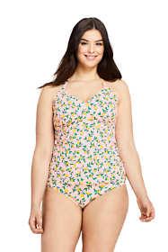 Women's Plus Size V-neck Tankini Top Swimsuit Print