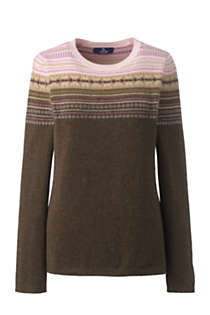Women's Cashmere Crewneck Sweater - Fair Isle, Front