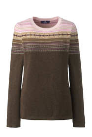 Women's Plus Size Cashmere Crewneck Sweater - Fair Isle