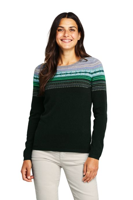 Women's Cashmere Crewneck Sweater - Fair Isle