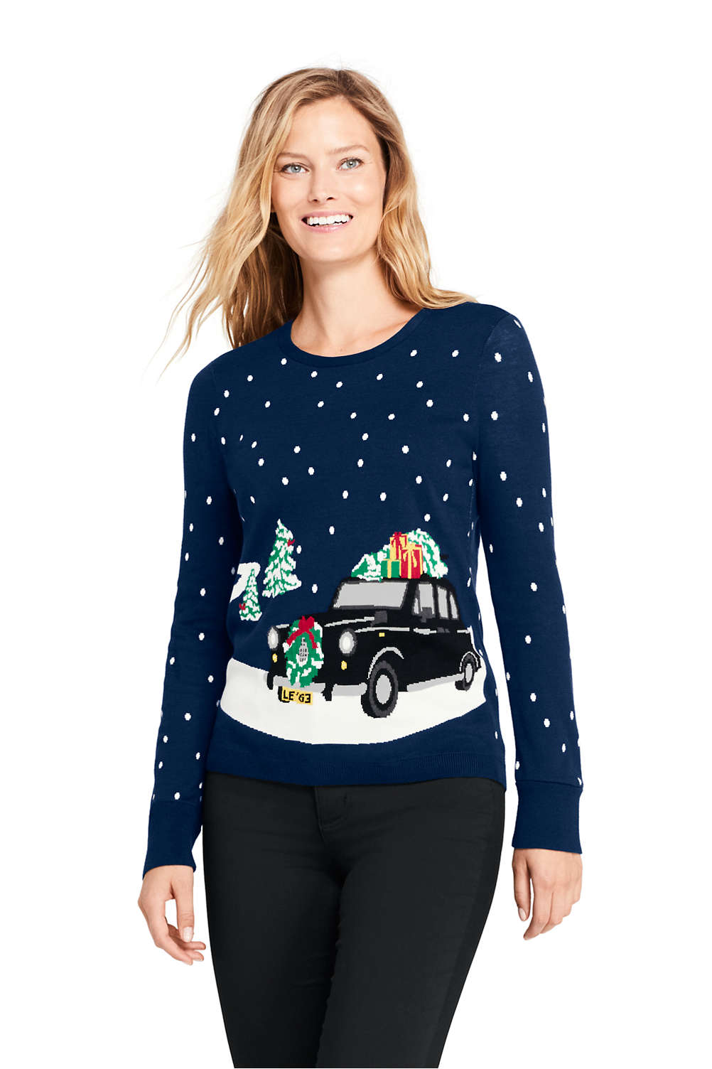 womens supima cotton christmas sweater from lands end - Womens Christmas Sweaters