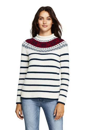 Women's Lofty Blend Fair Isle Stripe Roll Neck Jumper