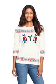Women's Petite Supima Cotton Christmas Sweater Mix Technique