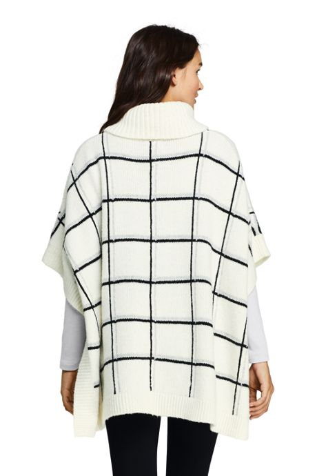 Women's Airspun Cowl Neck Sweater Poncho - Plaid