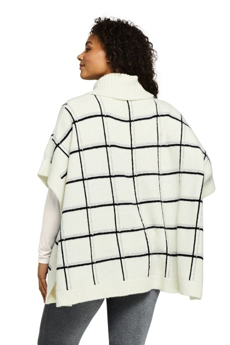 Women's Plus Size Airspun Cowl Neck Sweater Poncho - Plaid