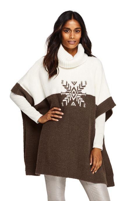 Women's Airspun Cowl Neck Sweater Poncho Intarsia
