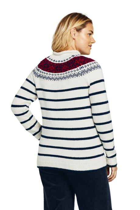 Women's Plus Size Stripe Lofty Roll Neck Sweater