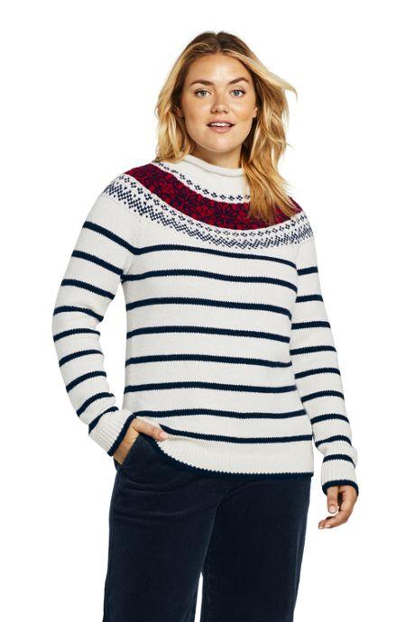 Women's Plus Size Stripe Lofty Roll Neck Sweater