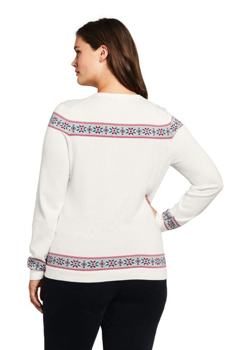Women's Plus Size Supima Cotton Christmas Sweater Mix Technique