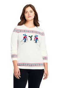 Women's Plus Size Supima Cotton Christmas Sweater Mix Technique