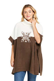 Women's Plus Size Airspun Cowl Neck Sweater Poncho Intarsia