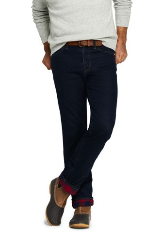 Men's Flannel-lined Jeans, Straight Fit