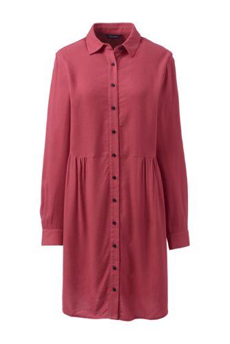 La Robe Chemise Unie en Viscose et Lyocell, Femme Stature Standard