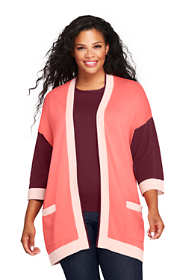 Women's Plus Size Cotton 3/4 Sleeve Open Cardigan Sweater