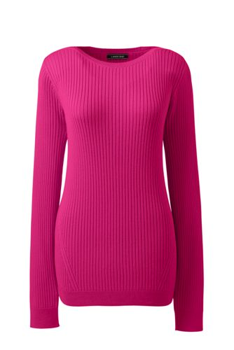 Women's Plus Boatneck Cotton Ribbed Jumper
