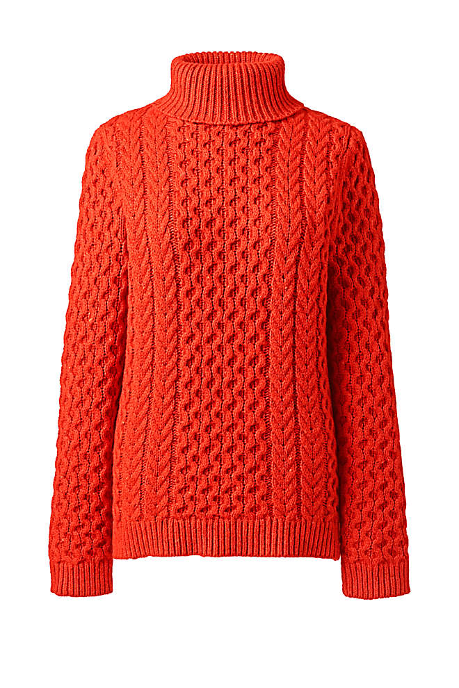 Women's Cozy Lofty Cable Turtleneck Sweater, Front
