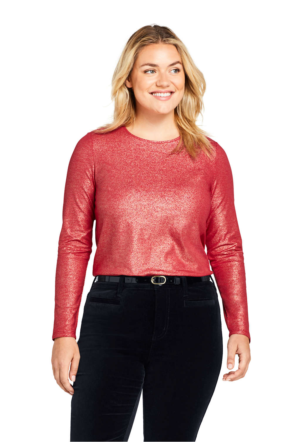 f2a018faa8120f Women s Plus Size Long Sleeve Christmas T-shirt Metallic Foil from Lands   End
