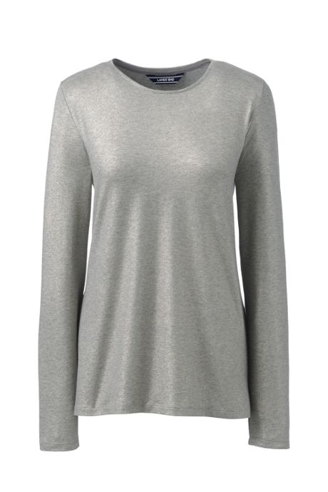 Women's Petite Long Sleeve Christmas T-shirt Metallic Foil