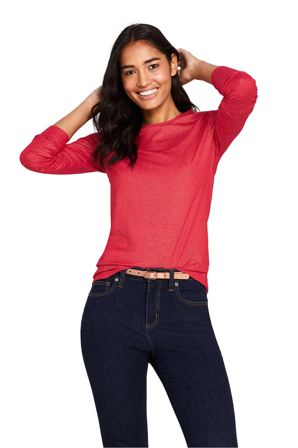 90569554939c Women's Long Sleeve Christmas T-shirt Metallic Foil from Lands' End