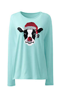 Women's Christmas Crewneck Long Sleeve T-Shirt Graphic, Front