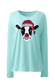 Women's Tall Christmas Crewneck Long Sleeve T-Shirt Graphic