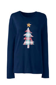 Women's Petite Christmas Crewneck Long Sleeve T-Shirt Graphic