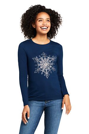 8c5dfe077 Women's Festive Graphic Lightweight Cotton/Modal T-shirts | Lands' End