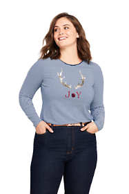 Women's Plus Size Long Sleeve Christmas T-Shirt Graphic