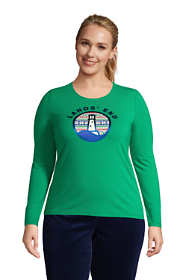 Women's Plus Size Christmas Crewneck Long Sleeve T-Shirt Graphic