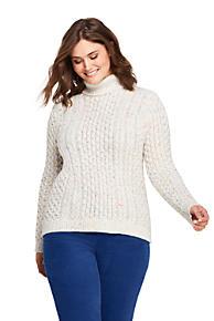 c730c9c90d Women s Plus Size Cable Turtleneck Sweater Cozy Lofty