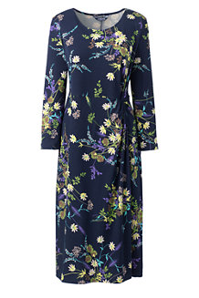 Gemustertes Jerseykleid mit Knoten-Detail für Damen