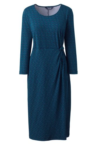 Women's Knotted Wrap Jersey Print Dress