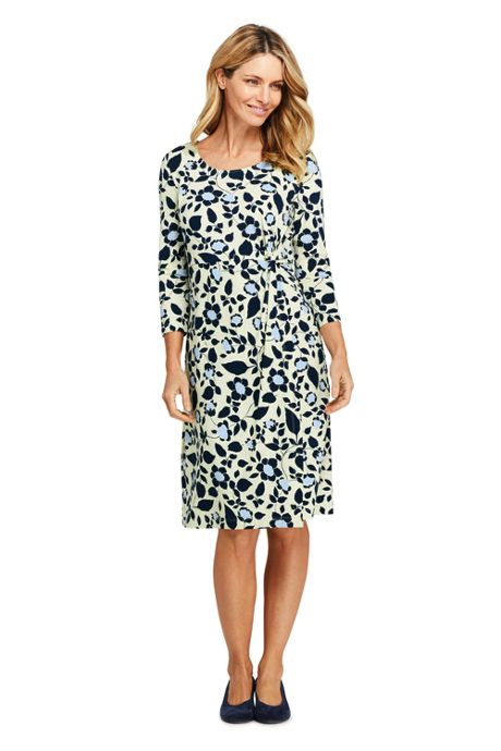 Women's Petite 3/4 Sleeve Knit Scoopneck Knot Dress