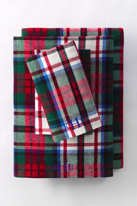 5oz Velvet Flannel Plaid Sheets