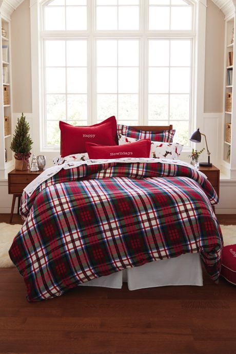 5 oz. Velvet Flannel Plaid Duvet Cover
