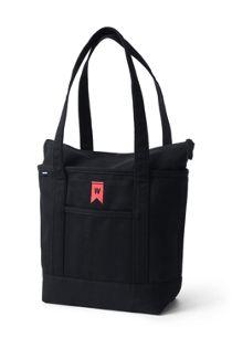 Medium Solid Color Zip Top Long Handle Canvas Tote Bag