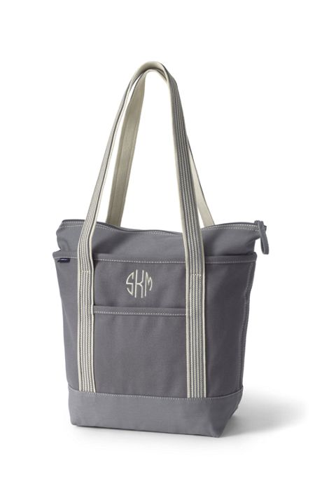 Medium Solid Color Zip Top Long Handle Canvas Tote Bag