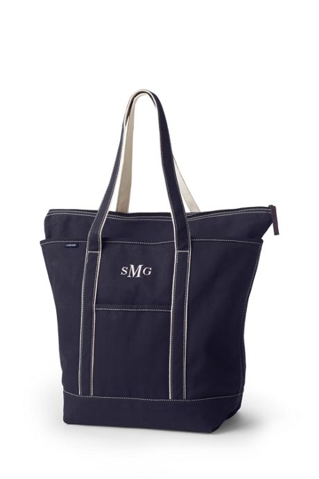 Large Solid Color Zip Top Long Handle Canvas Tote Bag